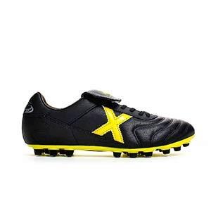Munich Mundial U25 - Botas de fútbol de piel de canguro Munich U25 para césped artificial - Negro / Amarillo - derecho