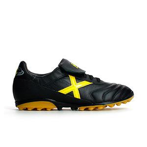 Munich Mundial T - Botas de fútbol multitaco de piel de canguro Munich suela turf - Negro / Amarillo - pie derecho