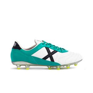 Munich Mundial 2.0 FG - Botas de fútbol de piel de canguro Munich suela FG para césped natural o artificial largo - blancas, verdes