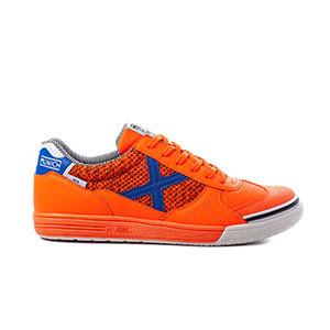 Munich G3 Indoor - Zapatillas de fútbol sala Munich suela lisa - naranjas y azules - pie derecho