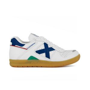 Munich Continental - Zapatillas de fútbol sala de piel de canguro Munich suela lisa - Blanco / Azul - pie derecho