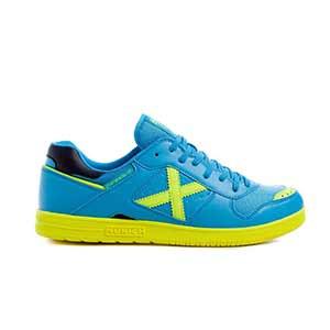 Munich Continental V2 - Zapatillas de fútbol sala Munich suela lisa - azul turquesa y amarillas - pie derecho