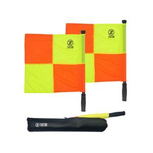 Set banderines árbitro fútbol Zastor PRO-XC con funda - Kit de banderines para árbitro de fútbol Zastor - amarillos y naranjas - frontal