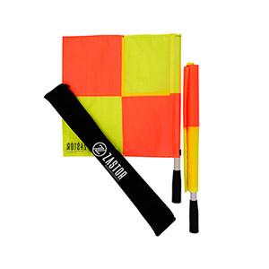 Set banderines árbitro fútbol Zastor Liga - Kit de banderines para árbitro de fútbol Zastor - amarillos y rojos - frontal