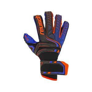Reusch Attrakt G3 Fusion Evolution Finger Support - Guantes de portero Reusch con protecciones y corte Evolution - negros y azules - frontal derecho