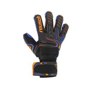 Reusch Attrakt G3 Fusion Evolution NC Ortho-Tec Guardian - Guantes de portero Reusch con protecciones extraíbles - negros y azules - frontal derecho