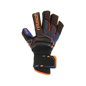 Reusch Attrakt G3 Fusion Ortho-Tec Goliator - Guantes de portero Reusch profesionales con protecciones extraíbles - negros y azules - frontal derecho