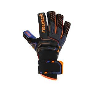 Reusch Attrakt G3 Fusion Goliator - Guantes de portero Reusch corte Dual Rolled Expanse Cut - negros y azules - frontal derecho