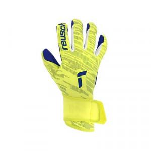 Reusch Pure Contact Silver - Guantes de portero Reusch corte Evolution Negative Cut - amarillos flúor y azules - frontal derecho