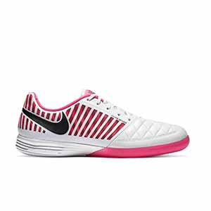 Nike Lunar Gato 2 - Zapatillas de fútbol sala Nike Lunar Gato FC247 - blancas y rosas - pie derecho