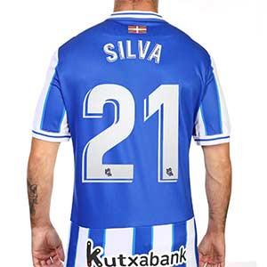 Camiseta Macron David Silva Real Sociedad 2020 2021 - Camiseta primera equipación de David Silva Macron de la Real Sociedad 2020 2021 - blanca y azul - trasera