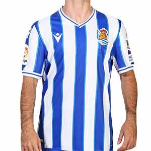 Camiseta Macron Real Sociedad 2020 2021 - Camiseta primera equipación Macron de la Real Sociedad 2020 2021 - blanca y azul - frontal