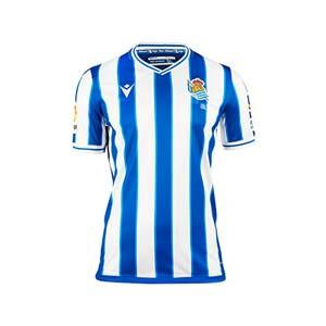 Camiseta Macron Real Sociedad niño 2020 2021 - Camiseta infantil primera equipación Real Sociedad 2020 2021 - blanca y azul - frontal