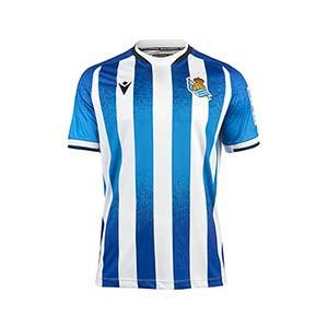 Camiseta Macron Real Sociedad niño 2021 2022 - Camiseta primera equipación infantil Macron de la Real Sociedad 2021 2022 - azul, blanca