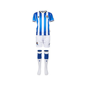 Equipación Macron Real Sociedad niño 21 22 con calcetines - Conjunto infantil Nike primera equipación Real Sociedad 2021 2022 - blanco, azul