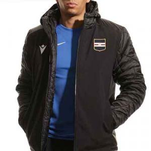 Chaqueta Macron Sampdoria acolchada - Chaqueta acolchada de invierno con capucha Macron de la UC Sampdoria - negra