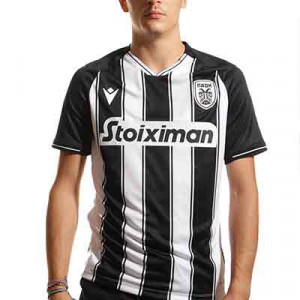 Camiseta Macron PAOK 2021 2022 - Camiseta primera equipación Macron del PAOK de Salónica FC 2021 2022 - blanca, negra