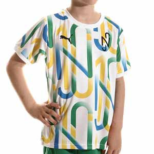 Camiseta Puma Neymar Jr Copra Graphic niño - Camiseta infantil Puma de Neymar Jr - blanca y verde - completa frontal