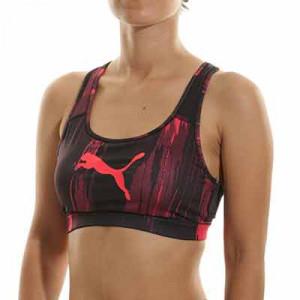 Sujetador deportivo Puma individualCUP mujer - Sujetador deportivo de impacto medio con relleno Puma de mujer para fútbol - rojo, negro
