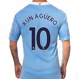 Camiseta Puma Kun Agüero M. City 2020 2021 - Camiseta Puma de la primera equipación de Sergio Agüero del Manchester City 2020 2021 - azul celeste - trasea