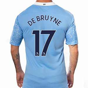 Camiseta Puma De Bruyne Manchester City 2020 2021 - Camiseta Puma de la primera equipación de Kevin De Bruyne del Manchester City 2020 2021 - azul celeste - trasera