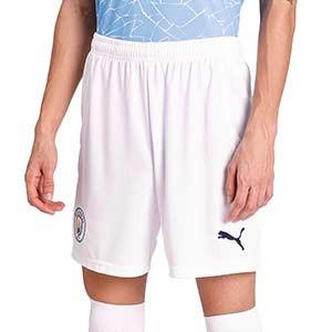 Short Puma Manchester City 2020 2021 - Pantalón corto primera equipación Manchester City 2020 2021 - blanco - frontal