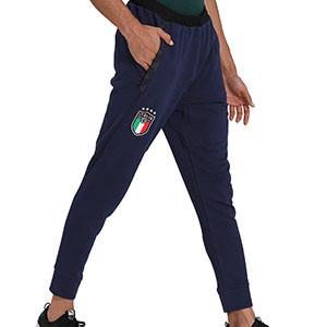 Pantalón Puma Italia Casuals 2020 2021 - Pantalón de algodón Puma selección italiana 2020 2021 - azul marino - frontal