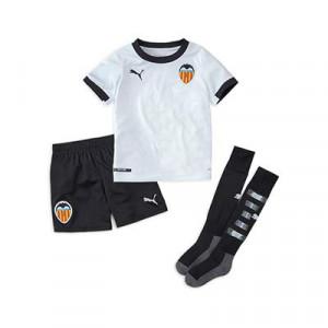 Equipación Puma Valencia niño 2020 2021 - Conjunto infantil primera equipación Puma Valencia CF 2020 2021 - blanco - frontal