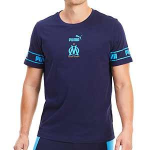 Camiseta Puma Olympique Marsella ftblCULTURE - Camiseta de algodón Puma del Olympique de Marsella 2020 2021 - azul marino - frontal