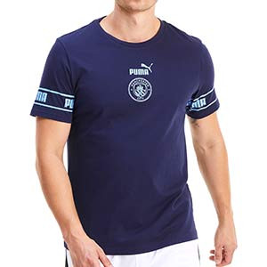 Camiseta Puma Manchester City ftblCULTURE - Camiseta de algodón Puma del Manchester City 2020 2021 - azul marino - frontal