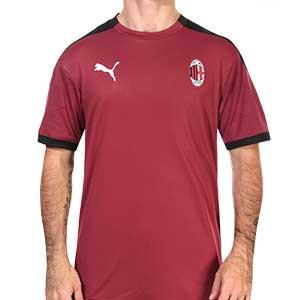 Camiseta Puma AC Milan entreno 2020 2021 - Camiseta entrenamiento Puma del AC Milan 2020 2021 - granate y negra - frontal