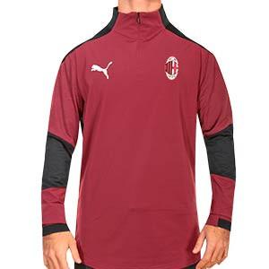 Sudadera Puma AC Milan entreno 2020 2021 - Sudadera de entrenamiento Puma del AC Milan 2020 2021 - granate - frontal