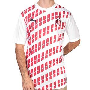 Camiseta Puma AC Milan 2a pre-match 2020 2021 - Camiseta pre partido visitante Puma del AC Milan 2020 2021 - blanca y roja - frontal