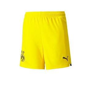 Short Puma Borussia Dörtmund niño 2021 2022 - Pantalón corto infantil primera equipción Puma Borussia Dörtmund 2021 2022 - amarillo - frontal