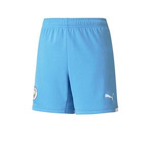 Short Puma Manchester City niño 2021 2022 - Pantalón corto infantil segunda equipación Puma del Manchester City 2021 2022 - blanco
