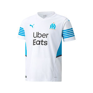 Camiseta Puma Olympique Marsella niño 2021 2022 - Camiseta primera equipación Puma Olympique de Marsella 2021 2022 - blanca - frontal