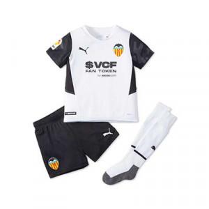 Equipación Puma Valencia niño 2021 2022 - Conjunto infantil primera equipación Puma Valencia CF 2021 2022 - blanco y negro
