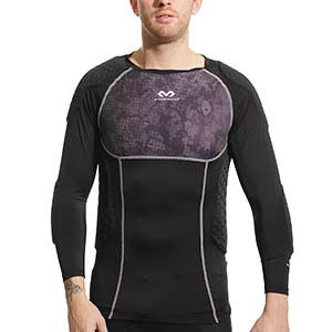 Camiseta larga protección portero McDavid Hex GK - Camiseta de manga larga compresiva portero con protección McDavid - negra - frontal