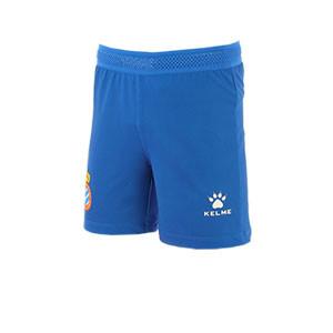 Short Kelme niño Espanyol 2019 2020 - Pantalón corto infantil primera equipación Kelme Espanyol 2019 2020 - azul - frontal