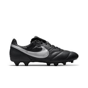 Nike Premier 2 FG - Botas de fútbol de piel de canguro Nike FG para césped natural o artificial de última generación - negras y plateadas - pie derecho