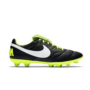 Nike Premier 2 FG - Botas de fútbol de piel de canguro Nike FG para césped natural o artificial de última generación - negras y amarillas - pie derecho