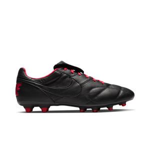 Nike Premier 2 FG - Botas de fútbol de piel de canguro Nike FG para césped natural o artificial de última generación - negras y rosas - pie derecho