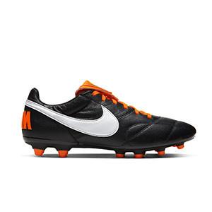 Nike Premier 2 FG - Botas de fútbol de piel de canguro Nike FG para césped natural o artificial de última generación - negras y naranjas - pie derecho