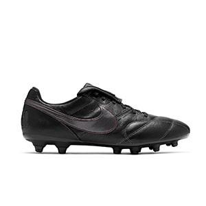 Nike Premier 2 FG - Botas de fútbol de piel de canguro Nike FG para césped natural o artificial de última generación - negras - pie derecho
