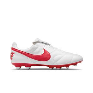 Nike Premier 2 FG - Botas de fútbol de piel de canguro Nike FG para césped natural o artificial de última generación - blancas - pie derecho