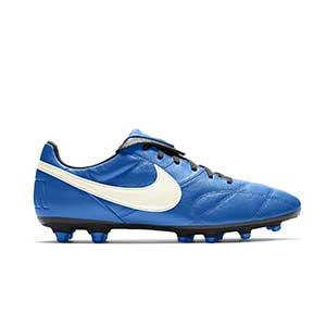 Nike Premier 2 FG - Botas de fútbol de piel de canguro Nike FG para césped natural o artificial de última generación - azul - pie derecho