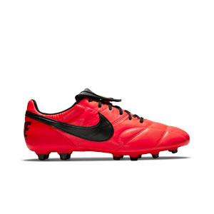 Nike Premier 2 FG - Botas de fútbol de piel de canguro Nike FG para césped natural o artificial de última generación - rojas y negras - pie derecho