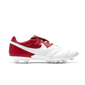 Nike Premier 2 FG - Botas de fútbol de piel de canguro Nike FG para césped natural o artificial de última generación - blancas y rojas - pie derecho