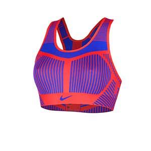 Sujetador deportivo Nike FE/NOM Flyknit - Top deportivo Nike de mujer para fútbol - azul y rojo - frontal