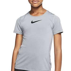 Camiseta Nike Pro niña - Camiseta de manga corta de niña para fútbol Nike - gris - frontal